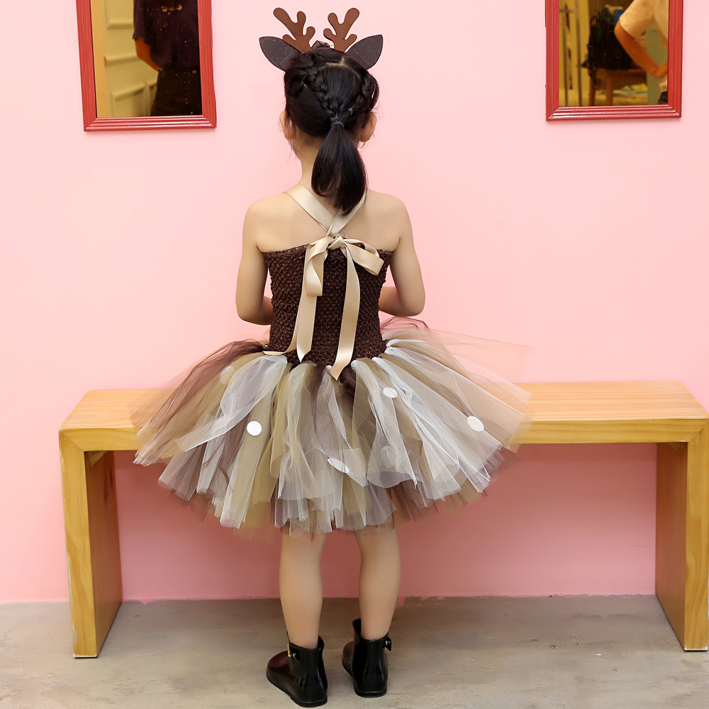 Girls Reindeer Dress Up Costumes Children O-neck Pattern Solid Dress Christmas Birthday Party Kids Dresses for Girls Ball Gown (18)