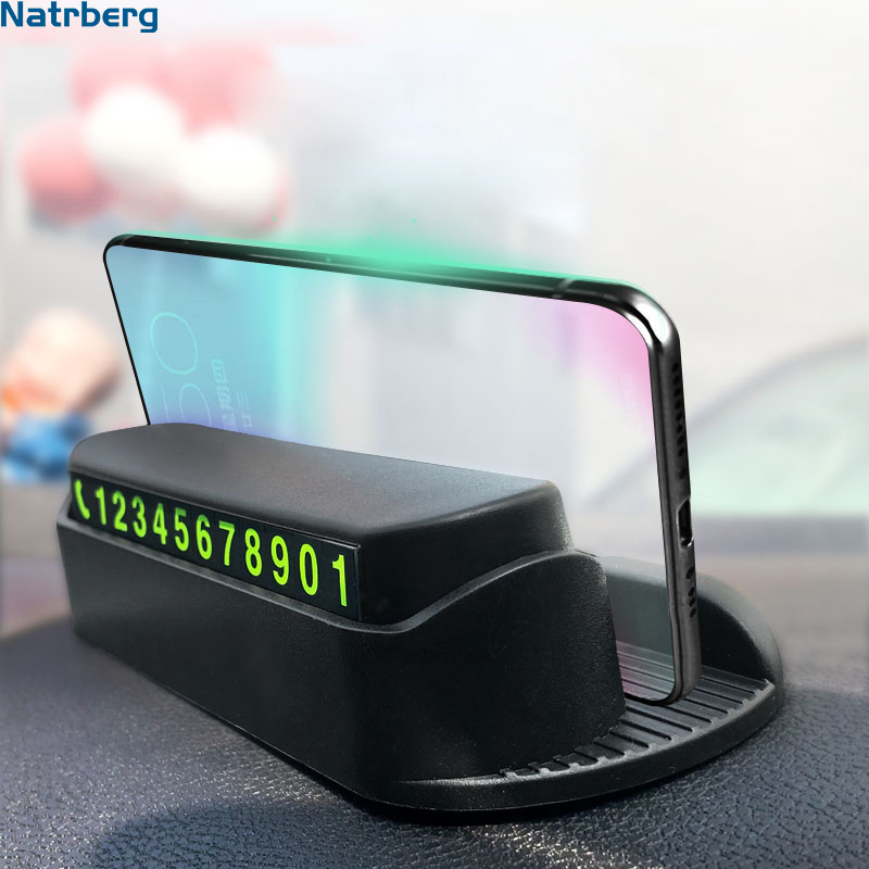 Parking Phone Number Plate Car Temporary Number Plate Car Park Stop Automobile Car-styling Sticker Night Light In Car