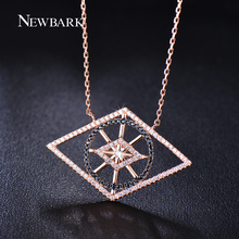 NEWBARK Geometric Lozenge Necklaces & Pendants Tiny CZ Simulated Diamond Paved Rose Or White Gold Plated Necklace Jewelry Gift