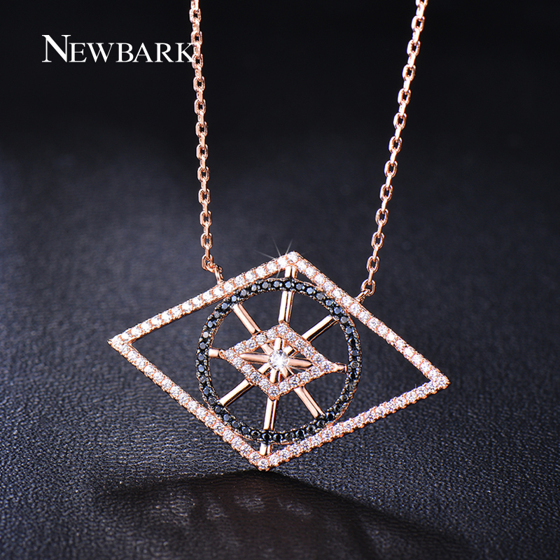 Newbark Official Store NEWBARK Geometric Chain Necklaces Round Lozenge Multi-shaped Paved AAA Small CZ Necklace For Bangquet Friends'Gift