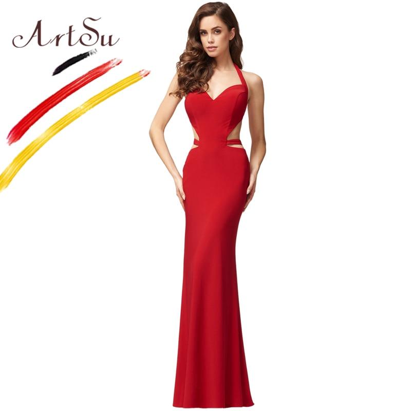 Buy ArtSu Sexy V-Neck Maxi Bandage Dress Red Color Women 2017 Halter Backless Floor-Length Party Dresses Elegant Slim Vestidos