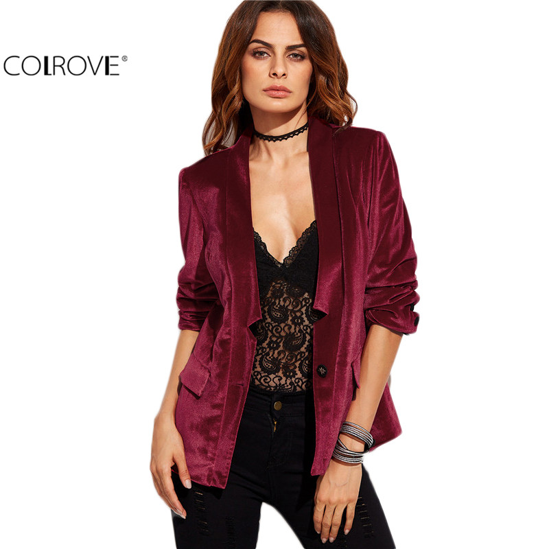 Aliexpress.com  Buy COLROVE Women Blazers And Jackets Velvet Blazer Women Formal Jackets Women ...