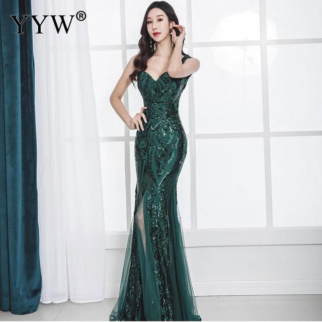 Shinny Gold Sequined V Neck Sleeveless Elegant Evening Dresses Sexy Robe De Soiree Formal Dress Luxury Mesh Club Party Vestidos 4