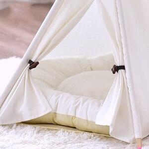 Image 3 - 개 텐트 시간 제한 판매 100% 코 튼 기계 워시 고체 Yuyu 애완 동물 Teepee 하우스 침대 고양이 작은 개를위한 휴대용 개 텐트