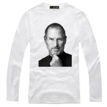 New Men's long sleeve T shirt Slim Memorial SteveJobs Cotton Top Casual Hooded Fashion