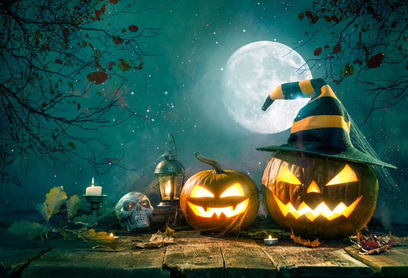 Laeacco Halloween Pumpkin Ghosts Lamps Moon Night Wooden Floor Photography Backdrops Vinyl Custom Backgrounds For Photo Studio