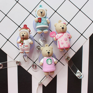 1 шт., кофейный медведь, выдвижной значок, катушка, ID, ремешок, имя, ярлык, держатель для карт, катушки, принадлежности для медицинских сестер