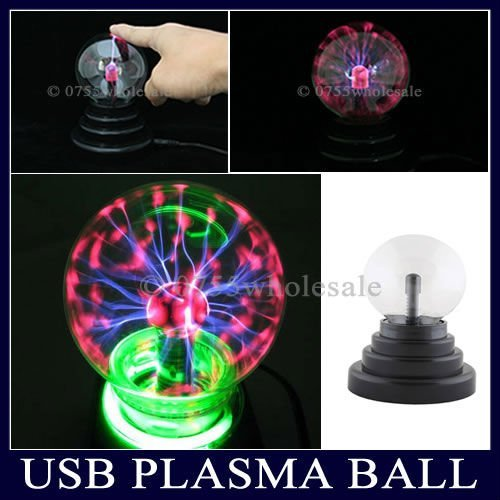 USB Glass Plasma Ball Sphere Lightning Light Lamp Party Kid's Birthday Gift Free Shipping