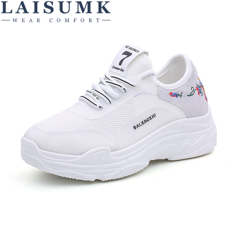 LAISUMK 2018 Sprig Breathable Air Mesh Women Sneakers Shoes Fashion White Black Cotton Fabric Wedges Sneakers Female Shoes
