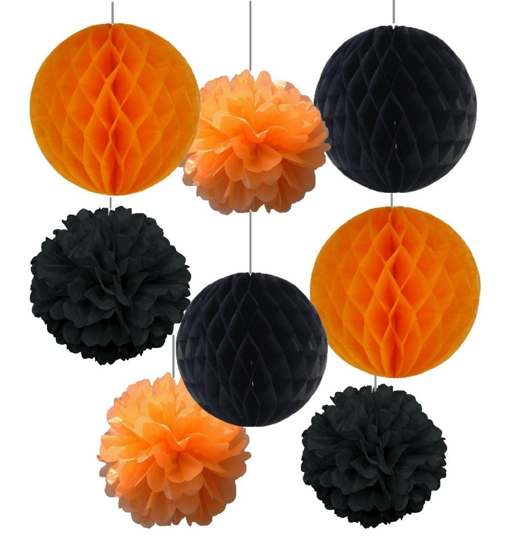 8pcs 20cm 25cm Halloween Kit Party Decoration Tissue Paper Pom Poms Paper Flowers Tissue Paper Honeycomb balls Festival Supplies in Party DIY Decorations from Home Garden