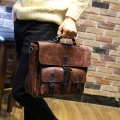 Bolsa crazy horse pu leather men briefcase vintage men's leather handbags maleta laptop shoulder bags carteira masculina