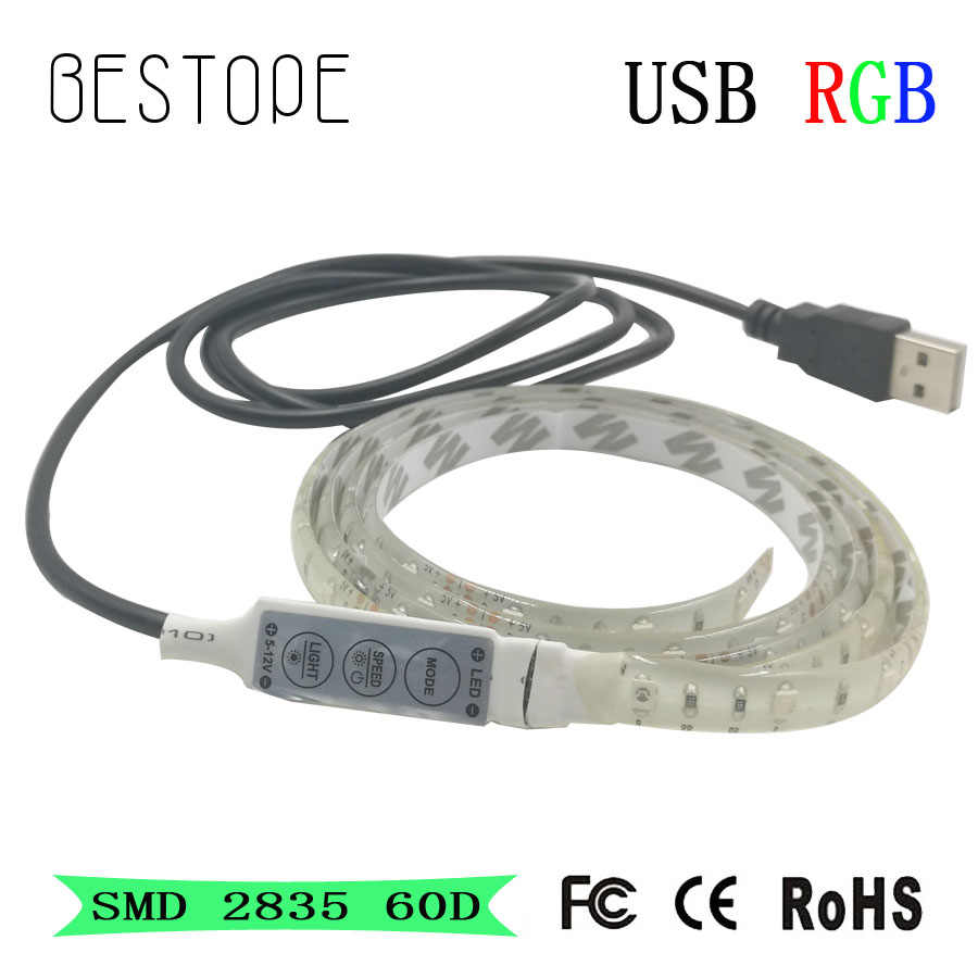 3528 DC 5 V RGB LED Strip Tahan Air 60LED/M USB Lampu LED Strip Fleksibel Neon Tape 50 Cm tambahkan Remote untuk TV Latar Belakang