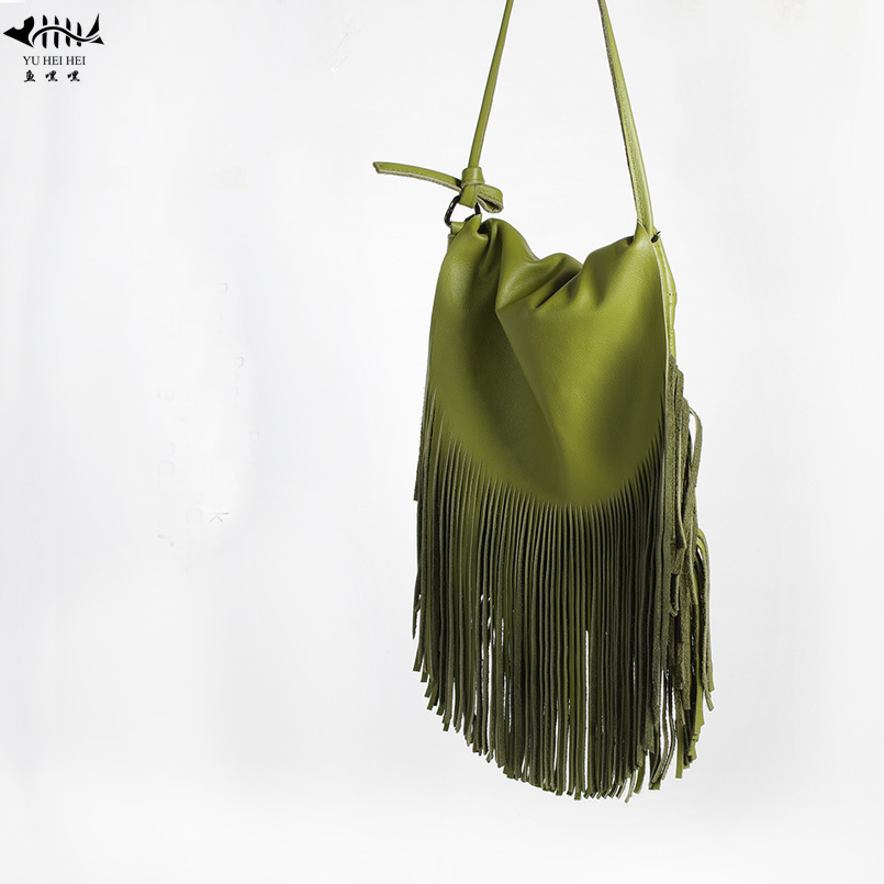 Women Fringed Messenger Bags 100 Genuine Leather Fringe Tassel Boho Hippie Gypsy Bohemian Tribal Ibiza Style
