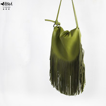 Women Fringed Messenger Bags 100% Genuine Leather Fringe Tassel Boho Hippie Gypsy Bohemian Tribal Ibiza Style Crossbody Bags(China)