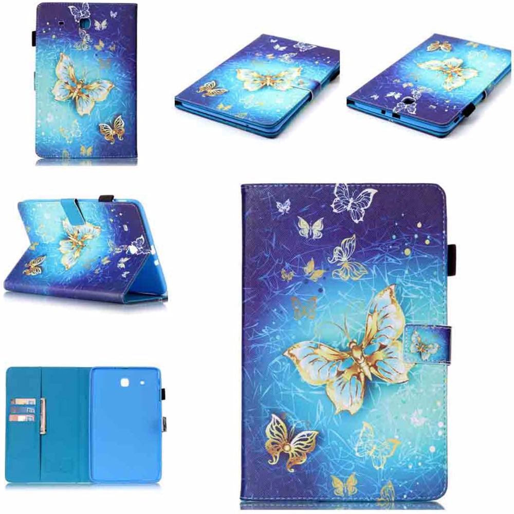 For Galaxy Tab E 9.6 Case Kid Butterfly Print Folio Flip Stand Cover Case for Samsung Galaxy Tab E9.6 SM-T561 SM-T560 TPU Shell bf luxury tablet case for samsung galaxy tab e 9 6 sm t560 sm t561 t560 t561 pu leather flip cute book stand cover protector