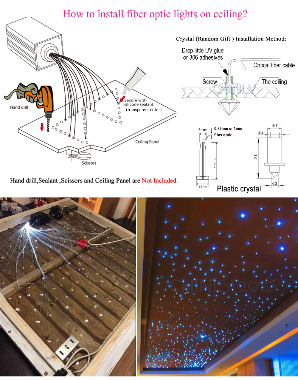 Image 5 - LED Fiber Optic Star Light Kit 16W RGBW RF Remote Optical Fiber Shooting Meteor Effect Decorative Children Room Lights Car Light-in Optic Fiber Lights from Lights & Lighting
