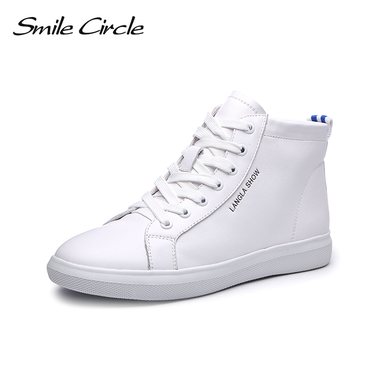 Smile Circle Genuine Leather Sneakers Women Lace-up Flat Shoes Women High-top Sneakers 2018 casual shoes White Black smile circle genuine leather sneakers women lace up flat shoes women comfortable air cushion sneakers 2018 casual shoes