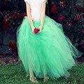 2016 Menta Verde Tutu Faldas Largas hasta el Suelo Tul Faldas de Las Mujeres Por Encargo Puffy Maxi Faldas