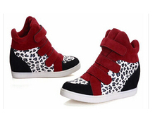 Women Boots Concealed Heel High Leopard Height Increasing High Top Women Casual Shoes Wedges Boots Trend Shoes Women