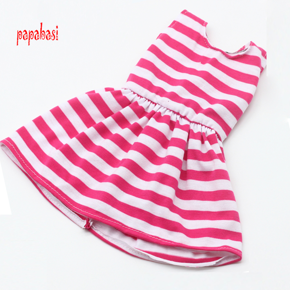 Pink Stripe Princess Dress Doll Clothes for 18 inch Dolls American Girl Doll Clothes and Accessories 1pcs white pink doll fashion dress for 18 inch dolls american girl doll clothes new style