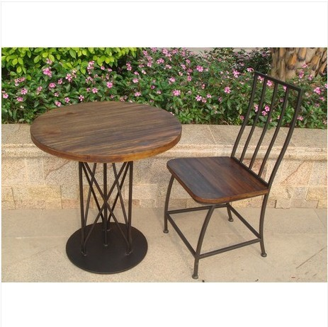 Us 332 4 American Vintage Outdoor Wrought Iron Coffee Tables And Chairs Made Of Old Wood Furniture Kit Combination Wine Bar Chairs Coffee In Garden