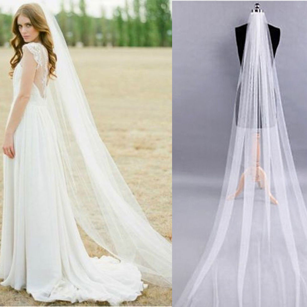White/Ivory 1T 2M Wedding Bridal Long Veil Church Cathedral Length With Comb