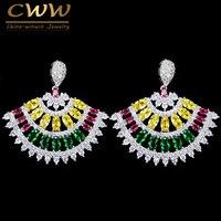 CWWZircons Piękne Wielokolorowe Cyrkonia Biżuteria Konfekcjonowanych CZ144 Marki Mody Duży Zielony CZ Ślub Kolczyk Dla Kobiet