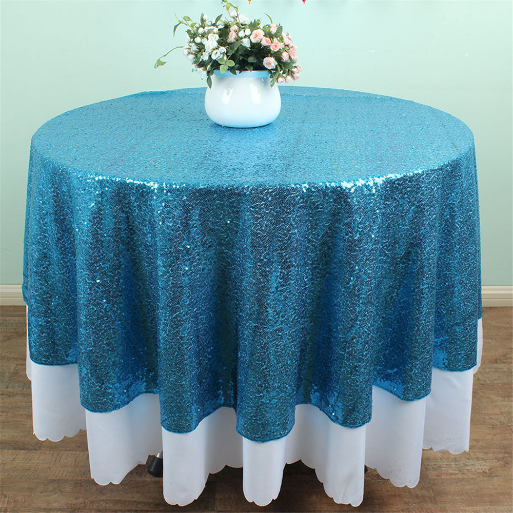 Sparkly Round Sequin Tablecloth Aqua Blue Fabric Shimmer Party Wedding  Feast Tablecloth 50 Inches