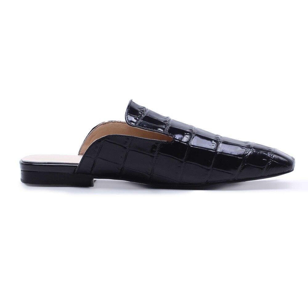 En Baja Mulas Grano chocolate Lenkisen Casual Mujeres Cuero Zapatos Negro Cuadrado Deslizamiento Completo Preppy De L50 Boda Inferior Estilo Suave Sandalias zw8qC4