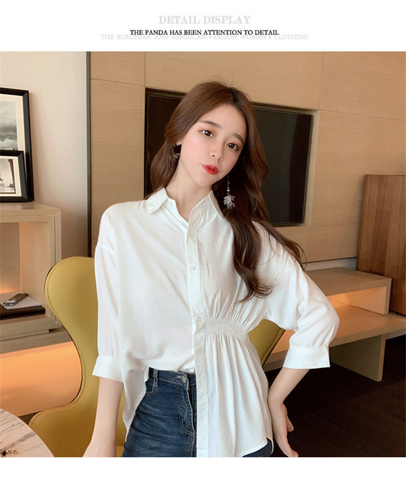 2019 Summer New Korean Version Of The Wild Long Paragraph 7 Points Sleeves Waist Loose Thin Temperament White Shirt Women (15)