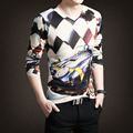 Autumn and winter new knitted long-sleeved base shirt men and South Korea Slim cotton V-neck  youth personality