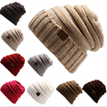 2016 nueva moda beanie sombrero de invierno para mujer nieve gorras touca gorro de punto sombrero cráneo chunky baggy skullies cálidos