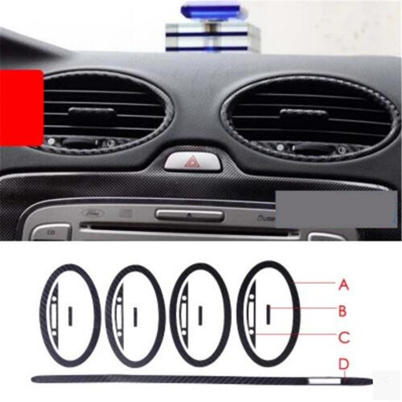 Cotochsun Car-styling Air Vent Outlet Trim 3D 5D Carbon Fiber Decoration Sticker Case For Ford Focus 2 MK2 2005-2013