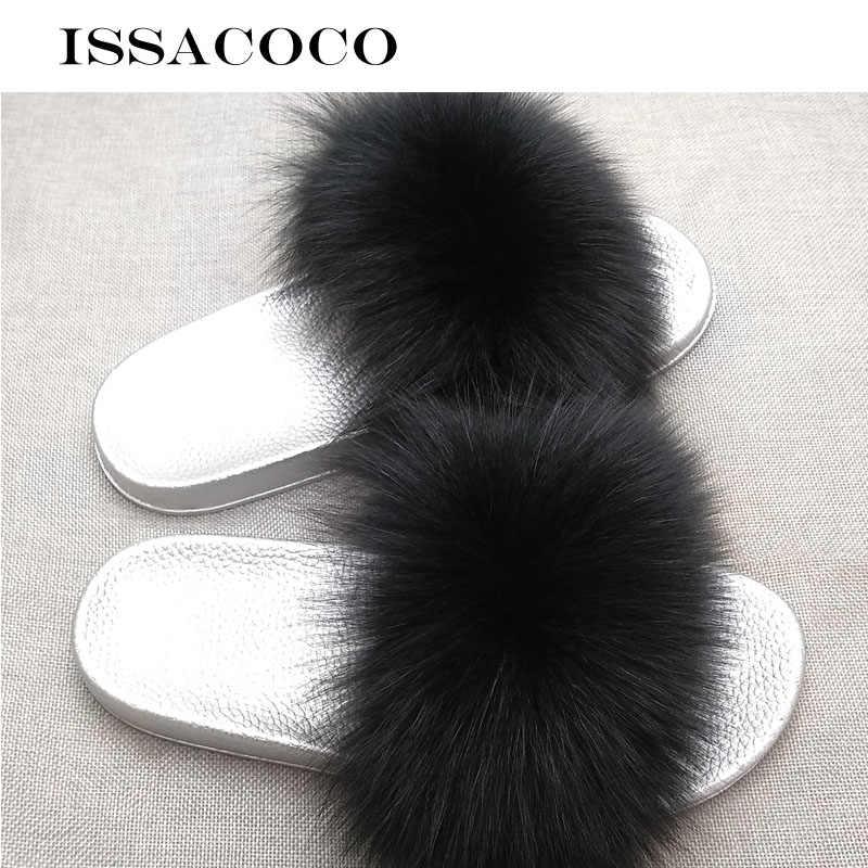 ISSACOCO Для женщин летние Лисий Мех волос женские шлепанцы на плоской подошве закрытые меховые шлепанцы без задника с открытыми пальцами Пляжные сланцы пушистые тапочки женская обувь; Pantuflas