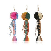 Fashion Charm Multilayer Woven Keychain Bohemia Women Colorful Layered Tassel Shell Pendant Accessories Wholesale