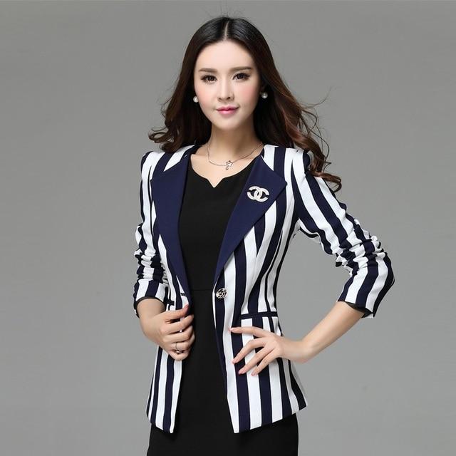 Womens black and white vertical striped blazer