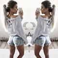 Women Ladies Clothing neck Tops Loose Long Sleeve T-Shirt Cotton Casual Clothes Fashion Women