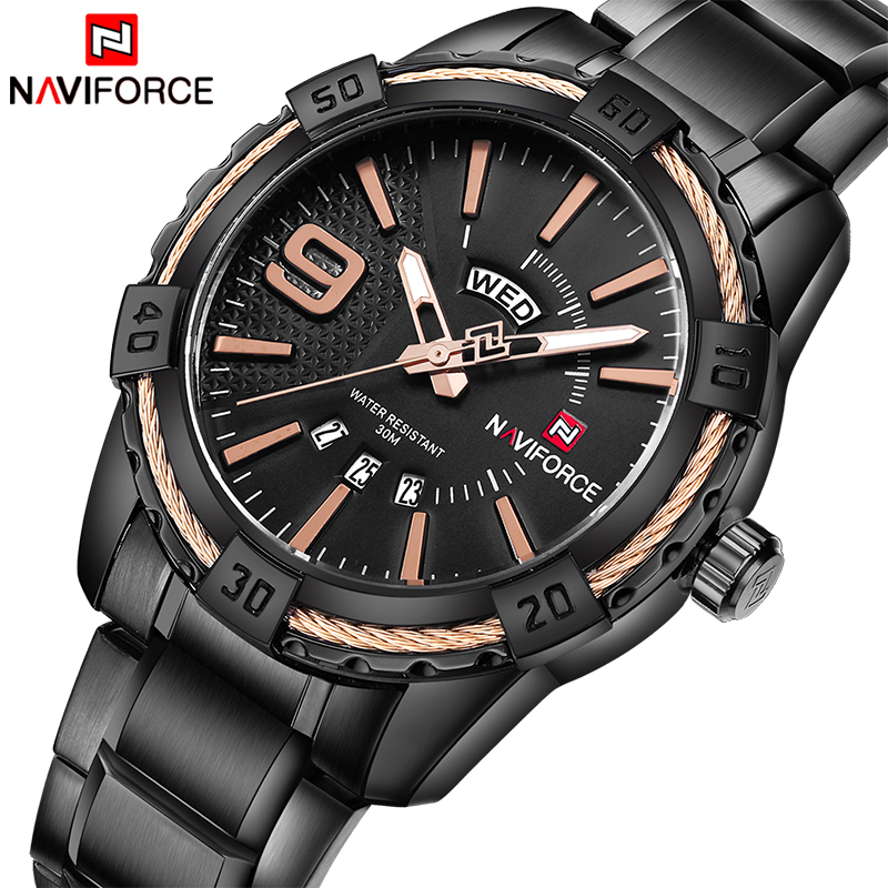 Watches men NAVIFORCE Luxury Brand Sport Full Steel Quartz Wrist watch Waterproof Military mens watch relogio masculino+gift