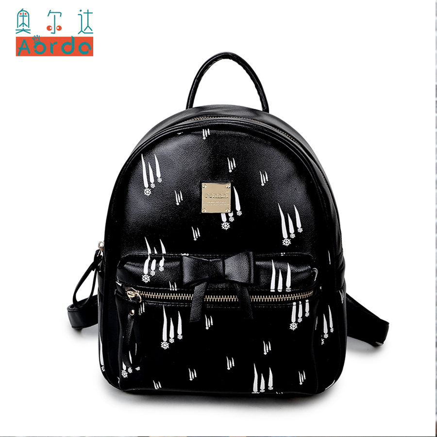 AORDA Lovely Lady Backpack for Teenage Girls Quality PU Leather Pink/Black Bag For Women Small Mochila Feminina School Bags vans wm realm backpack pink lady ph