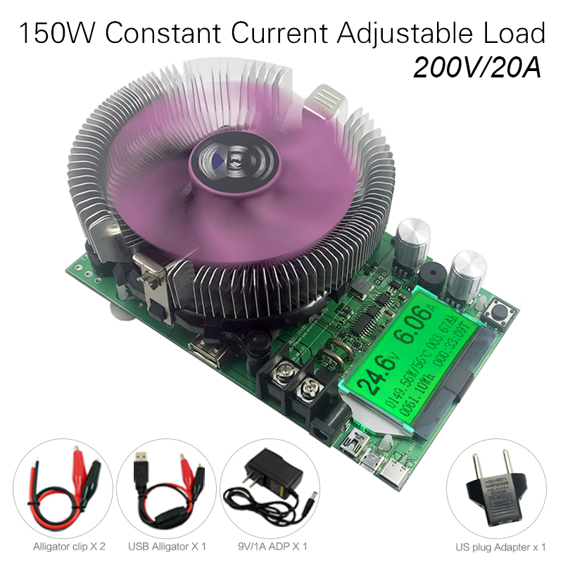 200V20A150W Probador de batería de carga electrónica de corriente constante ajustable usb dc 12V24V Medidor de capacidad de descarga de litio y plomo