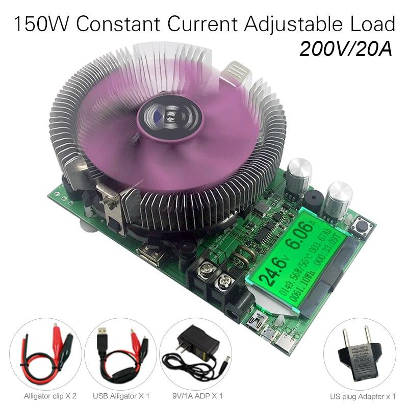 200v20a150w Ajustável Corrente Constante Testador De Bateria De Carga Eletrônica Usb Dc 12v24v Medidor De Capacidade De Descarga De Lítio Chumbo-ácido