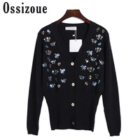 2017 Fashion Coats Sweater Women Runway High Quality Brand Sequined Knitted Cardigan Feminino Autumn White Black Sweaters Coat