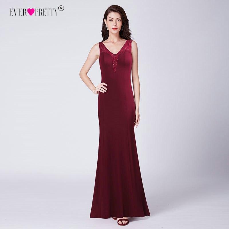 1e1a417124 Long Prom Dresses 2018 Ever Pretty New Elegant Burgundy V Neck Vestido De  Festa EZ07617BD Illusion Lace Back Women`s Gala Jurken
