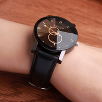 New Fashion Design Mens Watches Fashion Black Round Dial PU Leather Band Quartz Wrist Watch Womens