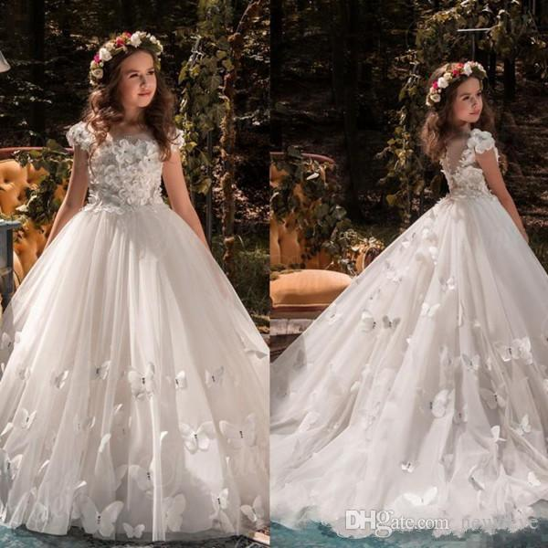 Princess   Flower     Girl     Dresses   Ball Gown Cap Sleeve Sweep Train   Girls   Pageant   Dress   Applique 3D Butterfly Wedding Party Gowns