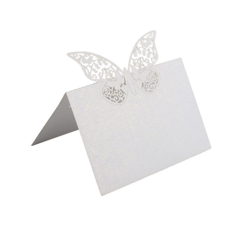 50pcs/lot Hollow Butterfly Laser Cut Paper Wedding Table Place Cards DIY Guest Name Card Home Festive Party Decorations Supplies 1 design laser cut white elegant pattern west cowboy style vintage wedding invitations card kit blank paper printing invitation
