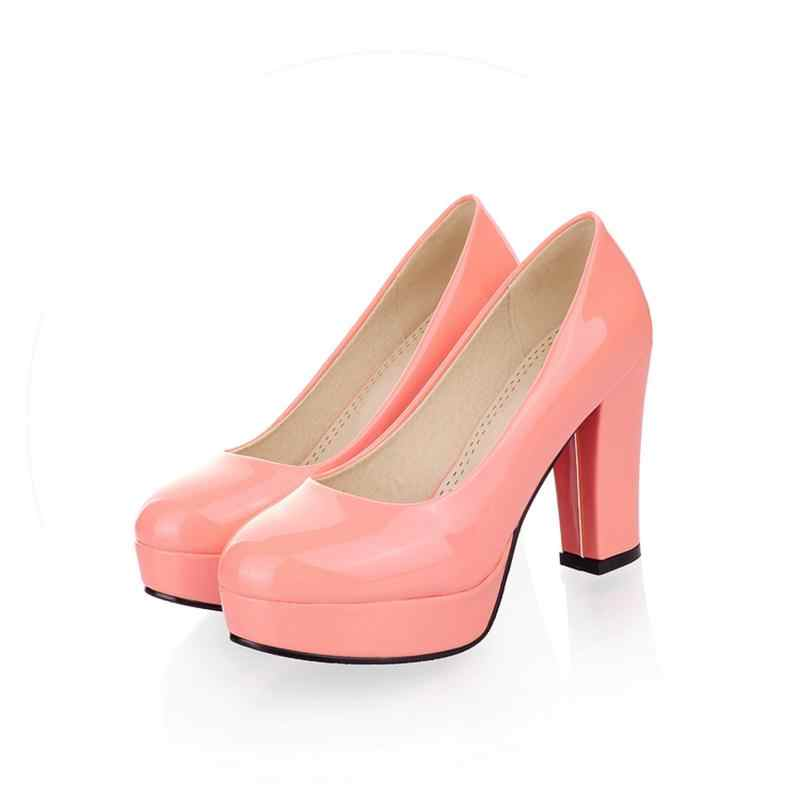 נשים משאבות חתונת נעלי מפלגה טו עגולה pu Asumer בוגר נעלי גודל גדול 34-43 חדשים מגיע סתיו אביב פלטפורמת עקבים