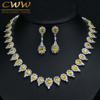 Gorgeous Pear Drop Yellow Crystal And Cubic Zirconia Diamond Party Jewelry Set For Women Luxury Wedding