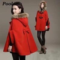 Cloak Poncho Women Coat Winter Woolen Overcoat Female Autumn Loose Cape Coat Hooded Batwing Coats Real Fur Hooded Coat