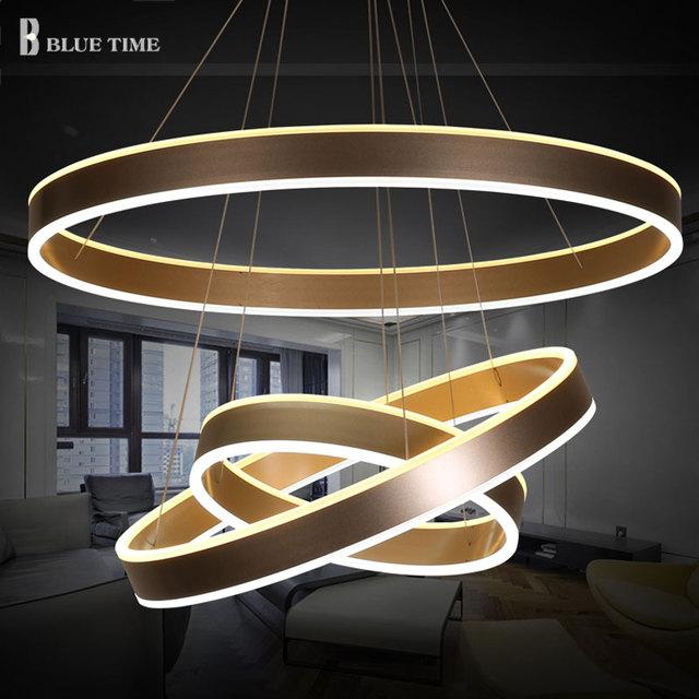 40 60 80cm modern led living dining room pendant lights suspension luminaire led 3 rings pendant. Black Bedroom Furniture Sets. Home Design Ideas